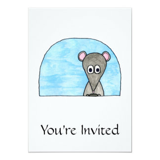 Mouse Driving a Car. 5x7 Paper Invitation Card