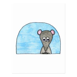 Mouse Driving a Car. Postcard