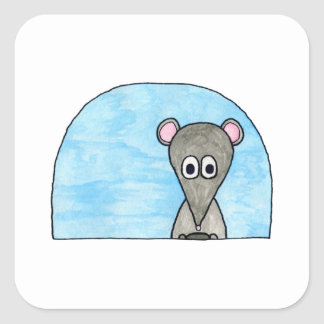 Mouse Driving a Car. Square Sticker