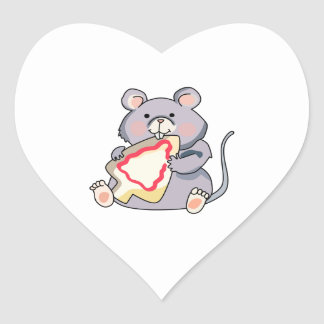 Mouse Eating Cookie Heart Stickers