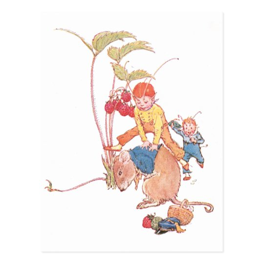 Mouse & Fairies Playing Leapfrog Postcard