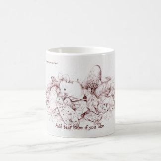 Mouse Family in Fall Leaves, Mushrooms, Nature Coffee Mug