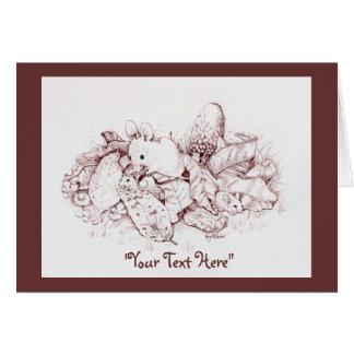 Mouse Family in Fall Leaves, Mushrooms, Nature Greeting Card