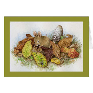 Mouse Family in the Leaves Card