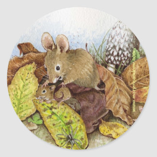 Mouse Family in the Leaves Round Sticker