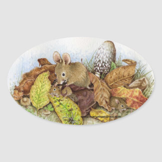 Mouse Family in the Leaves Stickers