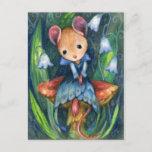Mouse Fantasy Mushroom Fairytale Art Postcard