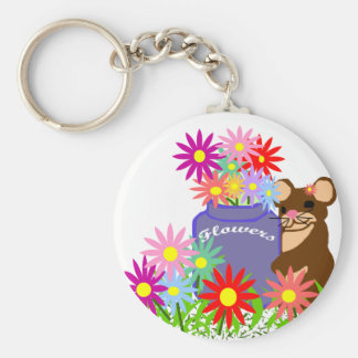 Mouse flower jar key chain