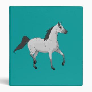 Mouse Grey Arabian Horse Trotting and Prancing 3 Ring Binder
