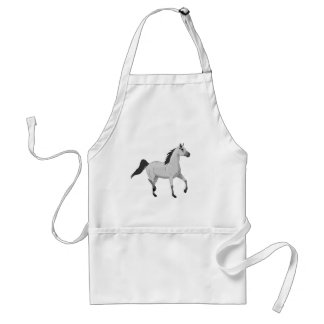 Mouse Grey Arabian Horse Trotting and Prancing Adult Apron
