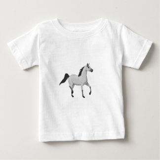 Mouse Grey Arabian Horse Trotting and Prancing Baby T-Shirt