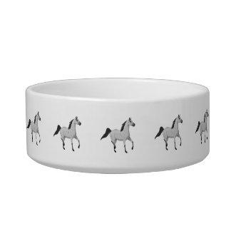 Mouse Grey Arabian Horse Trotting and Prancing Bowl