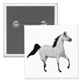 Mouse Grey Arabian Horse Trotting and Prancing Button