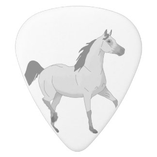 Mouse Grey Arabian Horse Trotting and Prancing White Delrin Guitar Pick