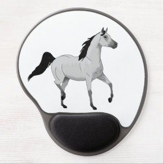 Mouse Grey Arabian Horse Trotting and Prancing Gel Mouse Pad