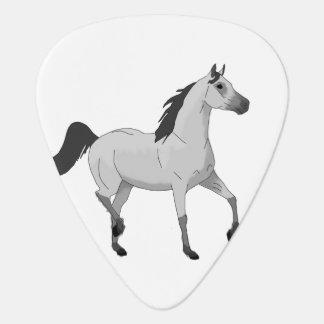 Mouse Grey Arabian Horse Trotting and Prancing Guitar Pick
