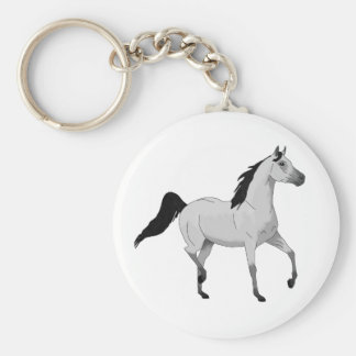 Mouse Grey Arabian Horse Trotting and Prancing Key Chain