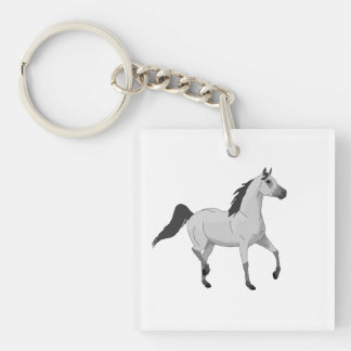 Mouse Grey Arabian Horse Trotting and Prancing Key Chains