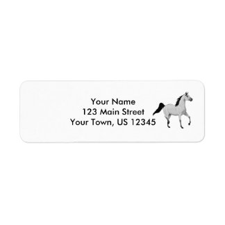 Mouse Grey Arabian Horse Trotting and Prancing Label