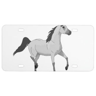 Mouse Grey Arabian Horse Trotting and Prancing License Plate