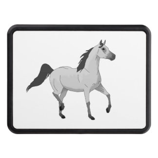 Mouse Grey Arabian Horse Trotting and Prancing Hitch Cover