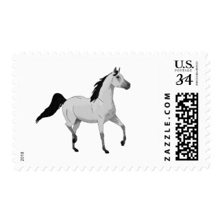 Mouse Grey Arabian Horse Trotting and Prancing Postage