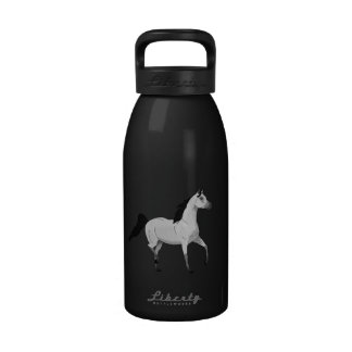 Mouse Grey Arabian Horse Trotting and Prancing Water Bottle