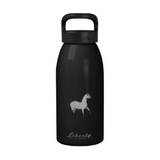 Mouse Grey Arabian Horse Trotting and Prancing Reusable Water Bottles