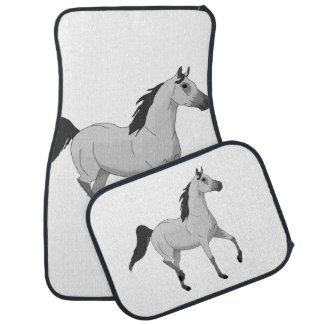 Mouse Grey Arabian Horse Trotting and Prancing Floor Mat
