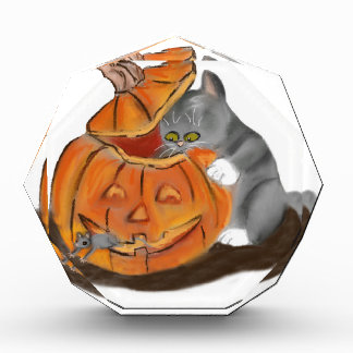 Mouse Hide and Seek in a Carved Pumpkin Acrylic Award