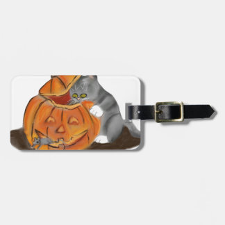 Mouse Hide and Seek in a Carved Pumpkin Luggage Tag