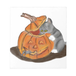 Mouse Hide and Seek in a Carved Pumpkin Notepad