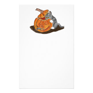 Mouse Hide and Seek in a Carved Pumpkin Stationery