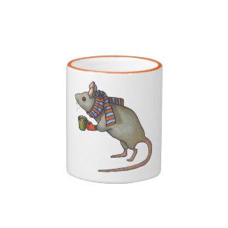 Mouse Holding Coffee Mug: Freehand Art