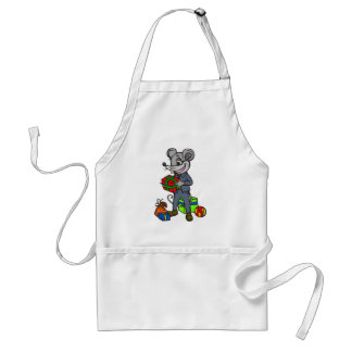 Mouse Holding Gifts Adult Apron
