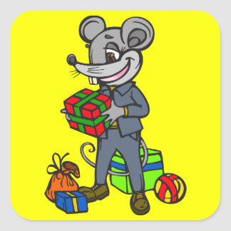 Mouse Holding Gifts Square Sticker