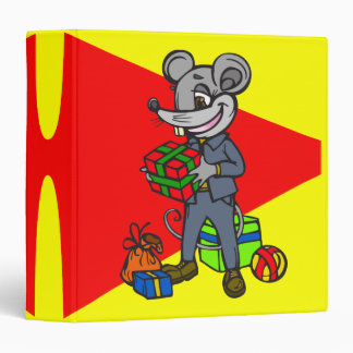Mouse Holding Gifts Vinyl Binder