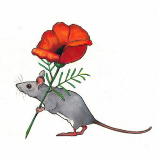 Mouse Holding Red Flower: Color Pencil Art Cutout