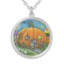 MOUSE HOUSE, HALLOWEEN COTTAGE SILVER NECKLACE