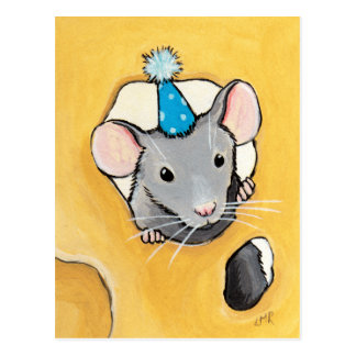Mouse in a Blue Party Hat - Animal Art Postcards