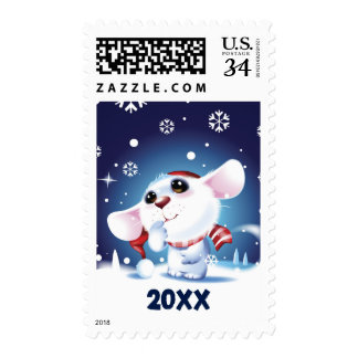 Mouse in hat and scarf watching snow fall postage