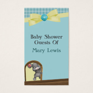 Mouse In House Baby Shower, Green & Yellow Business Card