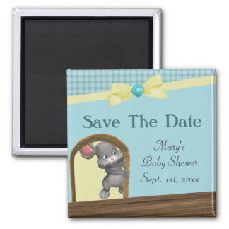 Mouse In House Baby Shower, Green & Yellow Fridge Magnets