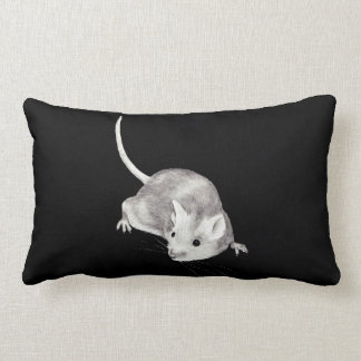Mouse in Pencil:  Realism Pencil Drawing Throw Pillows