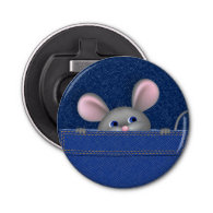 Mouse in Pocket Button Bottle Opener