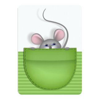 Mouse in Pocket 5x7 Paper Invitation Card