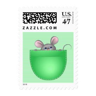 Mouse In Pocket Postage Stamp