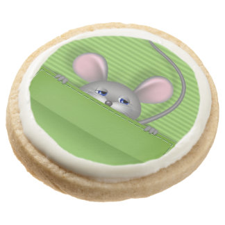 Mouse in Pocket Round Shortbread Cookie