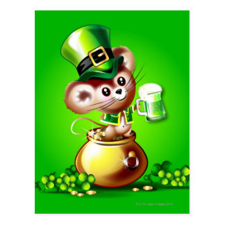 Mouse in pot of gold holding pint of green beer postcard