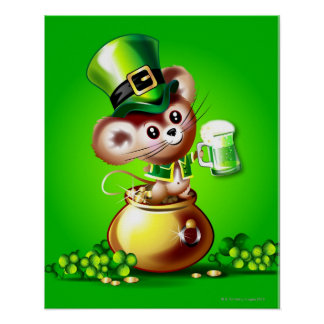 Mouse in pot of gold holding pint of green beer posters